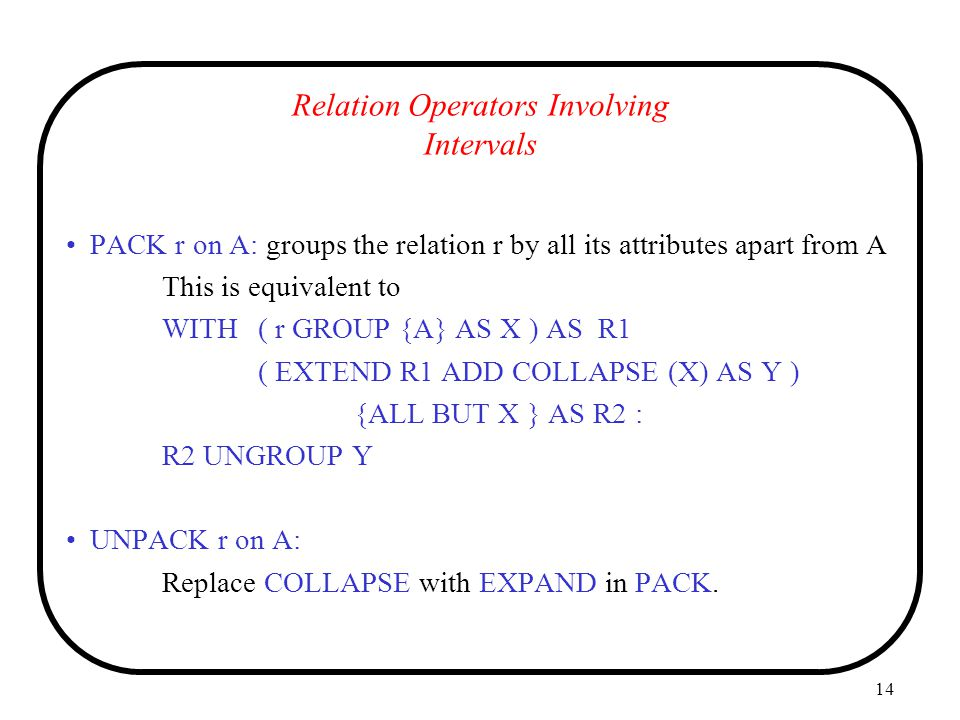 Relation Operators Involving Intervals