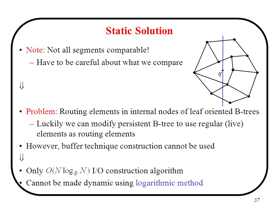 Static Solution Note: Not all segments comparable!