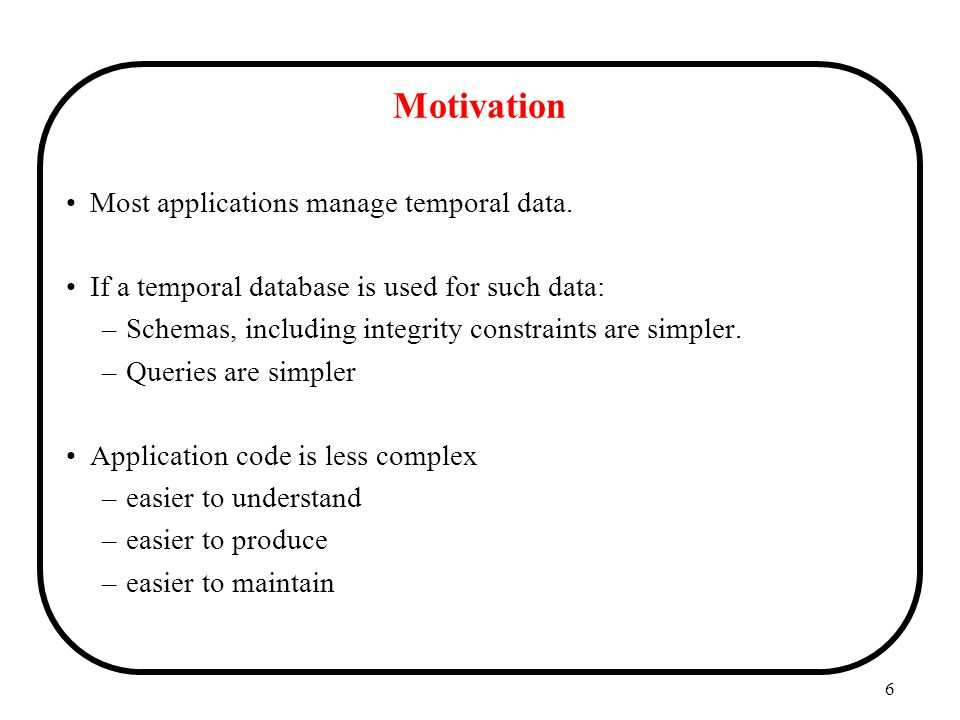 Motivation Most applications manage temporal data.