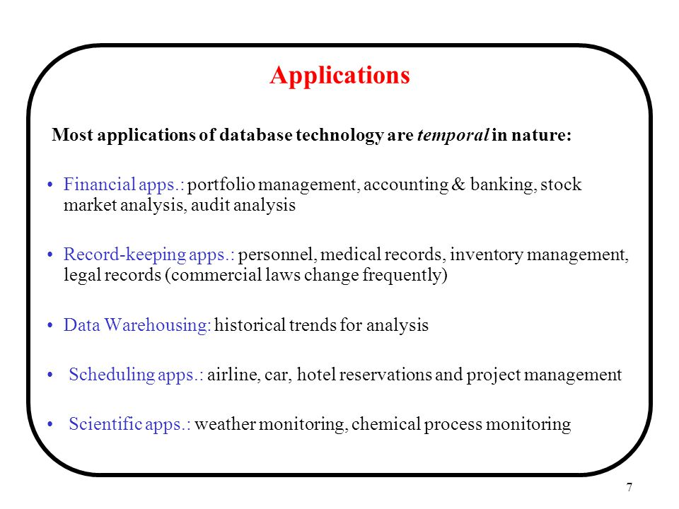 Applications Most applications of database technology are temporal in nature: