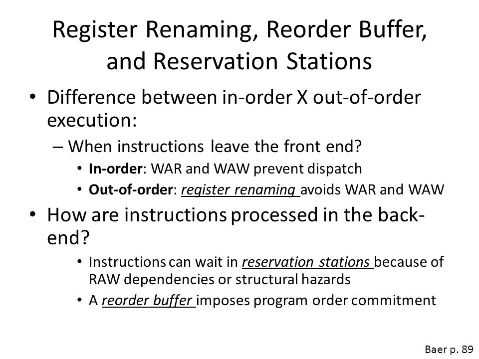 Register Renaming, Reorder Buffer, and Reservation Stations