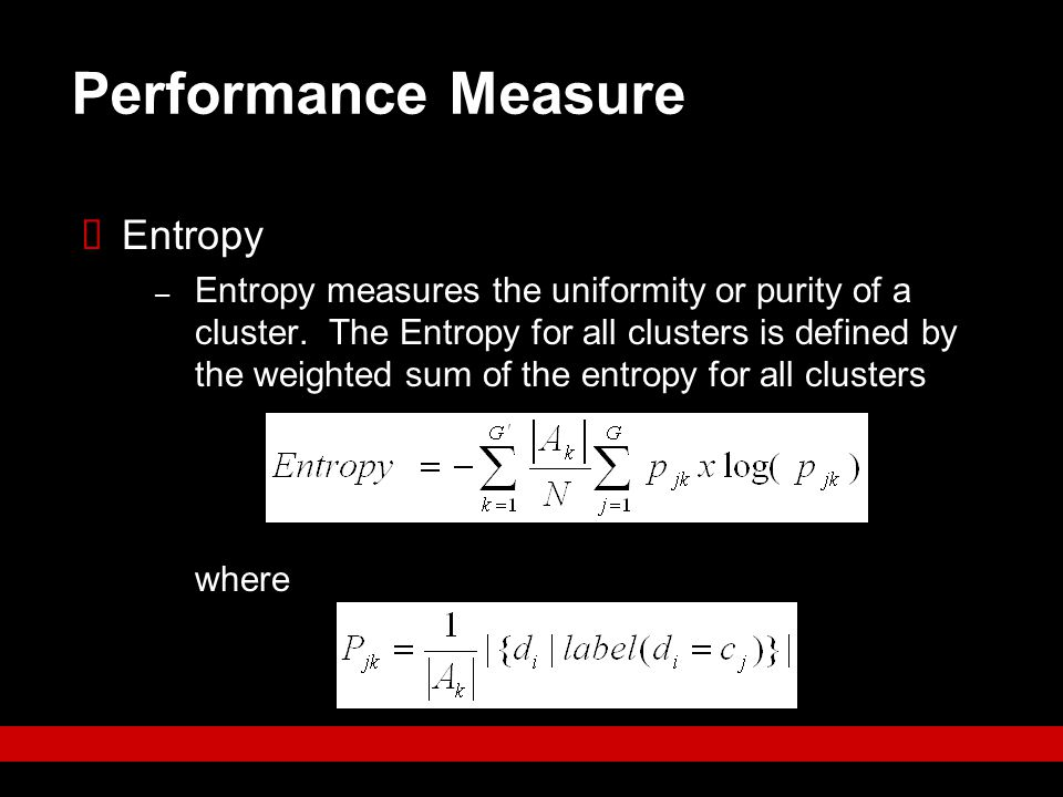 Performance Measure Entropy