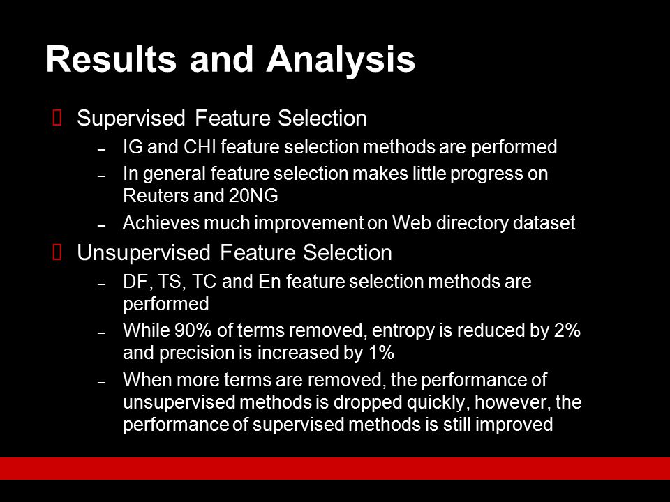 Results and Analysis Supervised Feature Selection