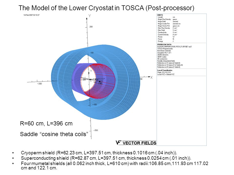 The Model of the Lower Cryostat in TOSCA (Post-processor)