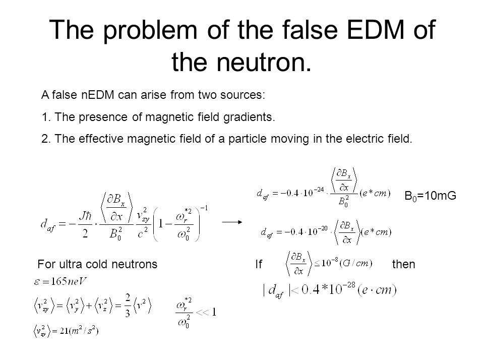 The problem of the false EDM of the neutron.