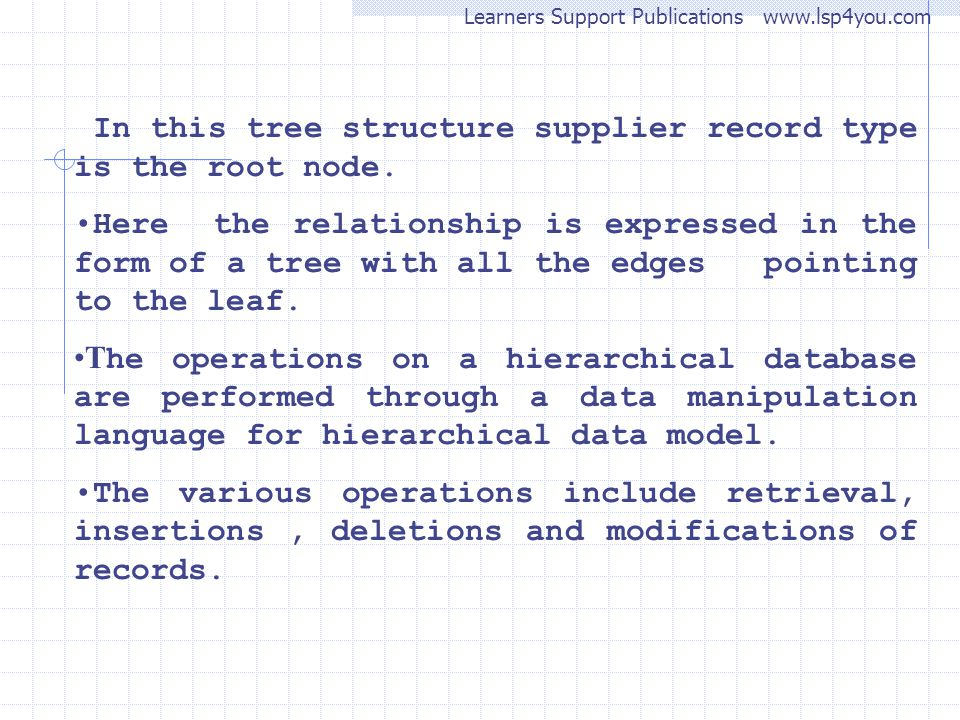 In this tree structure supplier record type is the root node.