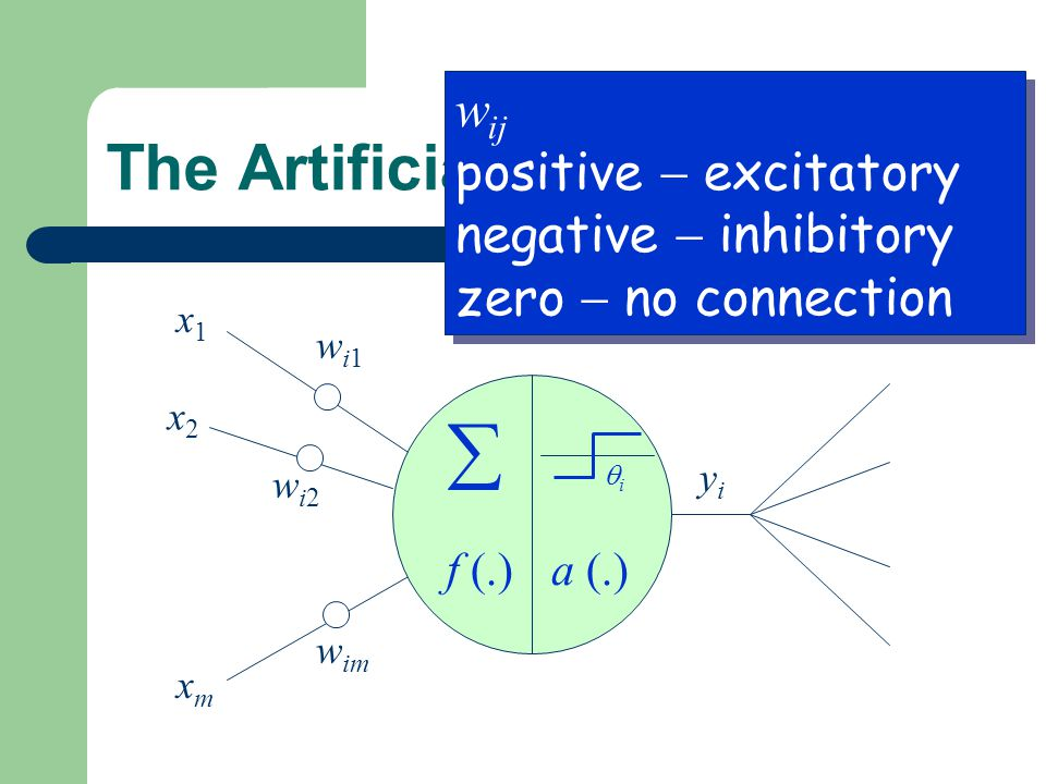  The Artificial Neuron wij positive  excitatory