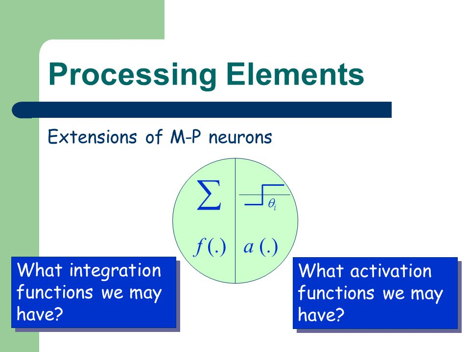  Processing Elements f (.) a (.) Extensions of M-P neurons