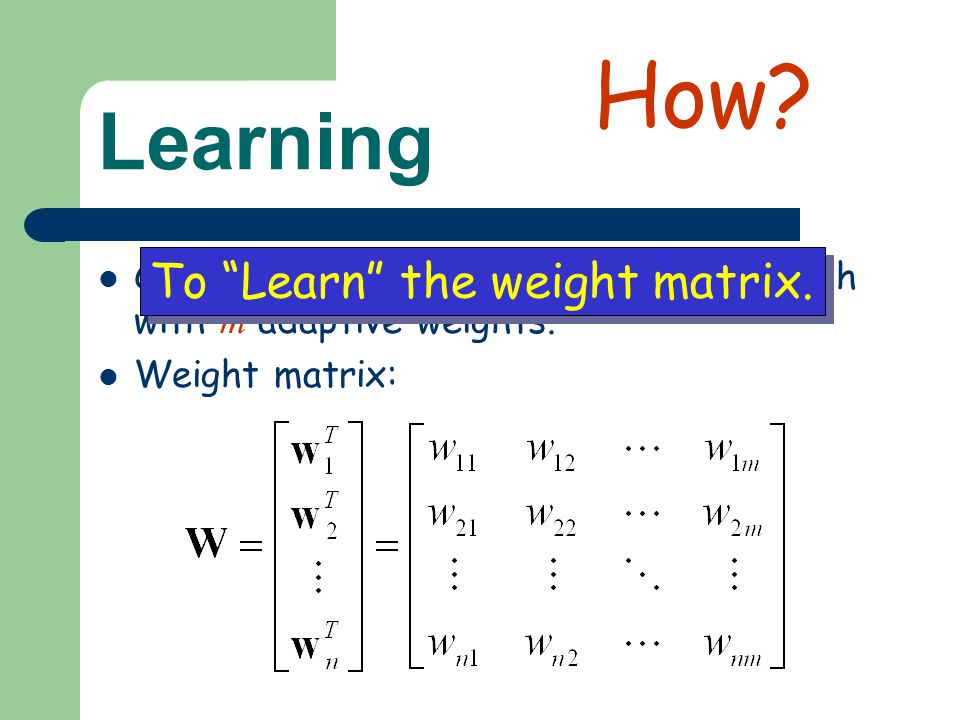 How Learning To Learn the weight matrix.
