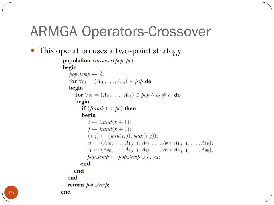 ARMGA Operators-Crossover