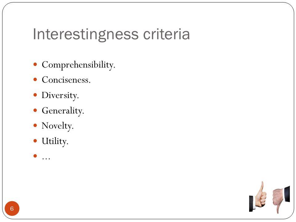 Interestingness criteria