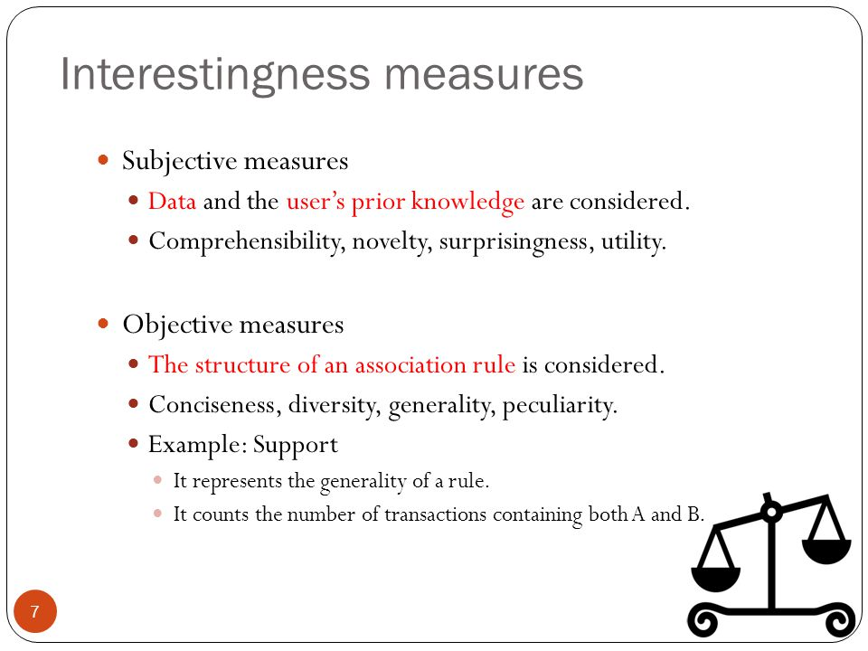 Interestingness measures