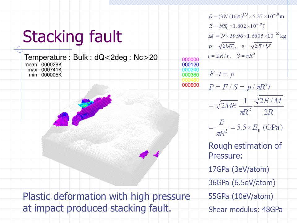 Stacking fault Rough estimation of Pressure: 17GPa (3eV/atom) 36GPa (6.5eV/atom) 55GPa (10eV/atom)