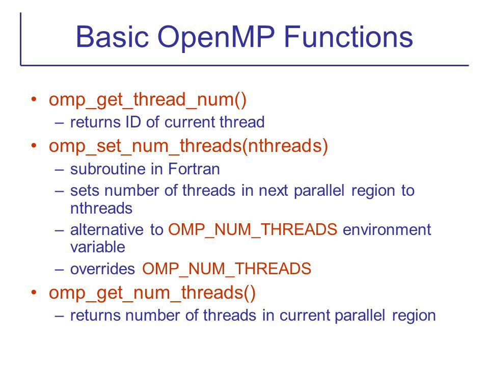 Basic OpenMP Functions