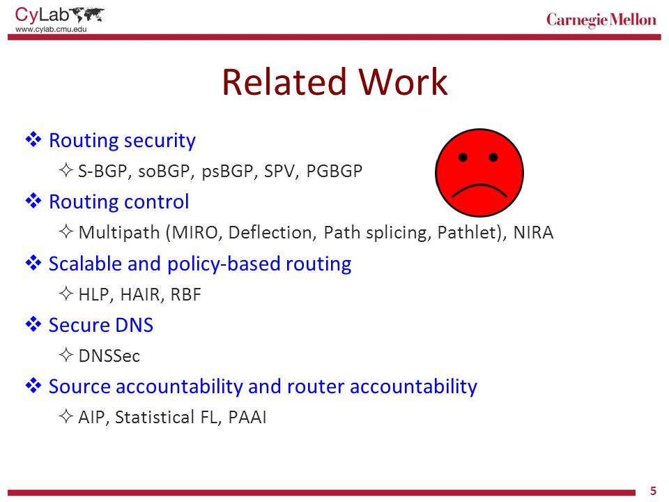 Related Work Routing security Routing control