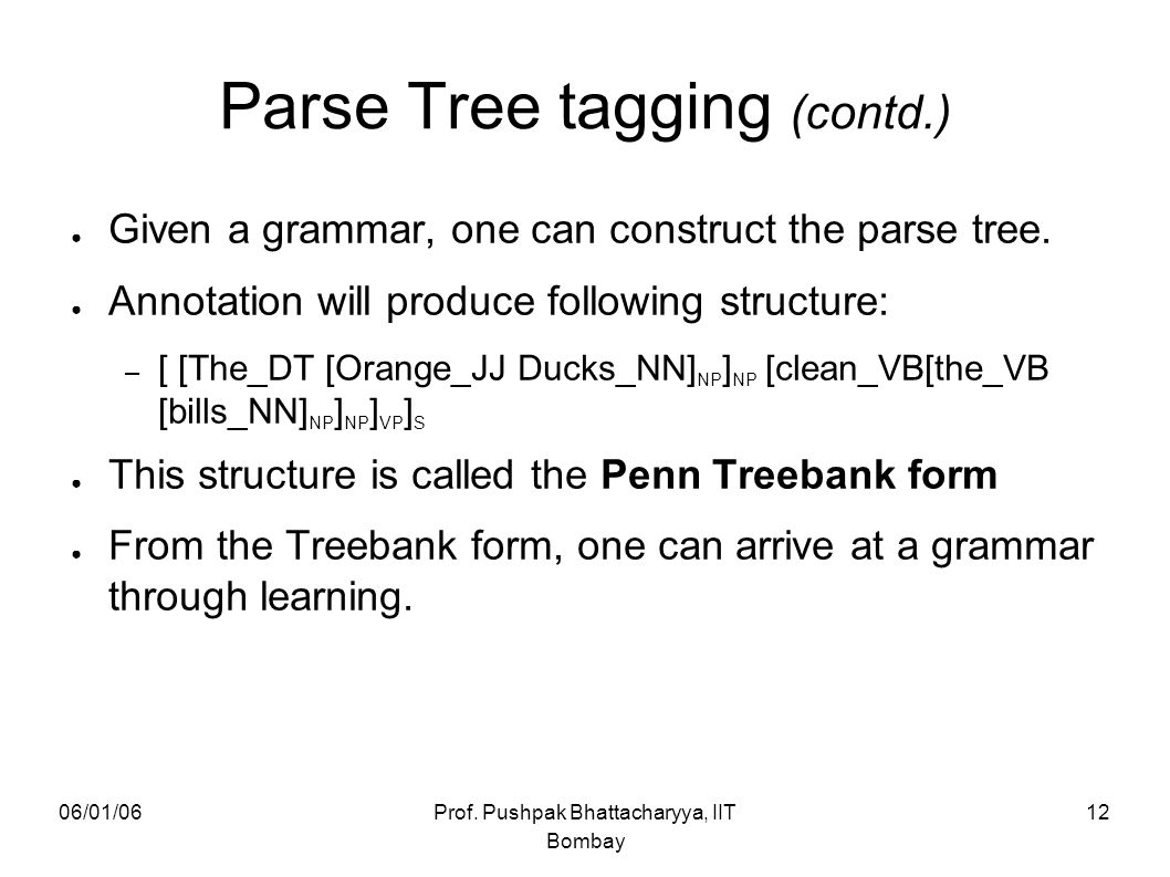 Parse Tree tagging (contd.)