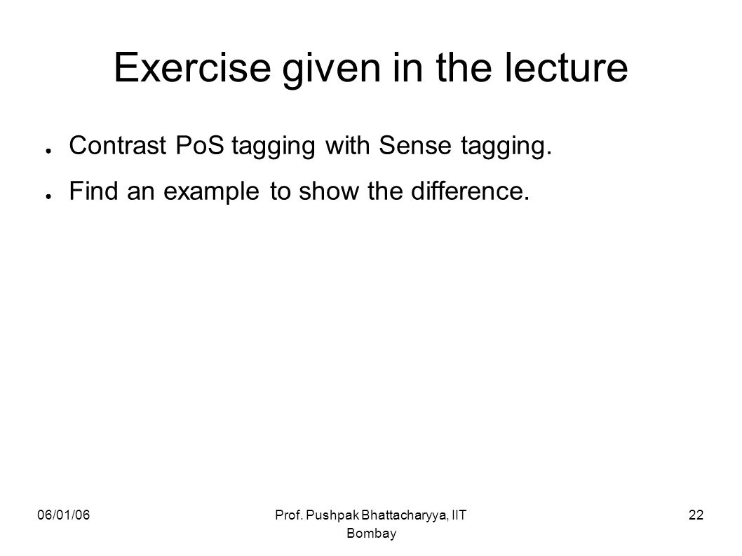 Exercise given in the lecture