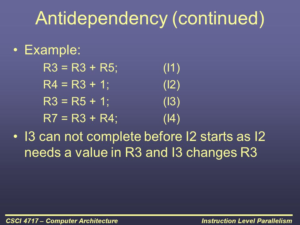 Antidependency (continued)