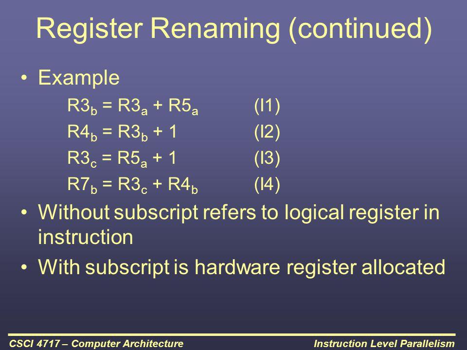 Register Renaming (continued)