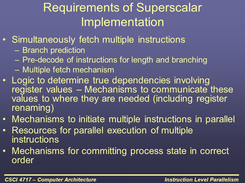 Requirements of Superscalar Implementation