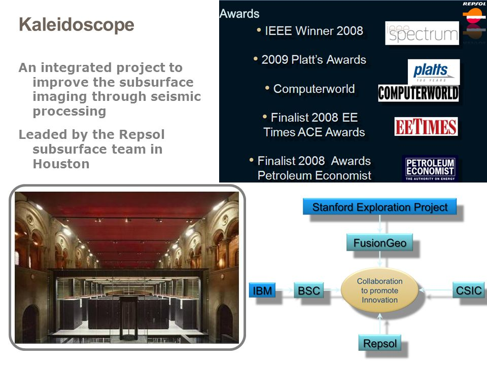Kaleidoscope An integrated project to improve the subsurface imaging through seismic processing.