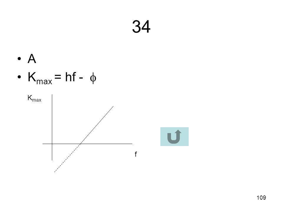 34 A Kmax = hf -  Kmax f