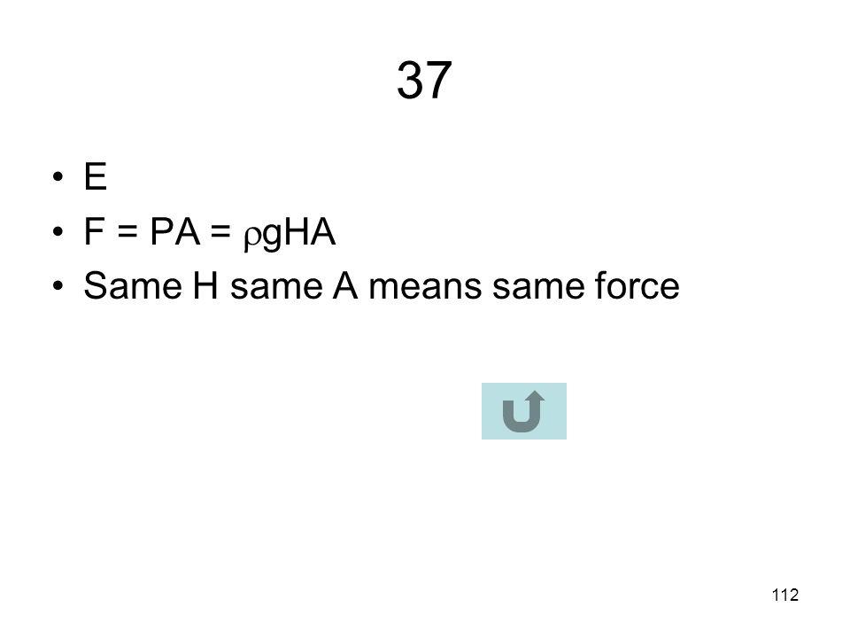 37 E F = PA = gHA Same H same A means same force