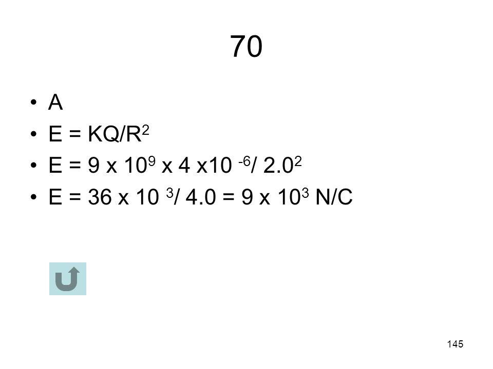 70 A E = KQ/R2 E = 9 x 109 x 4 x10 -6/ 2.02 E = 36 x 10 3/ 4.0 = 9 x 103 N/C