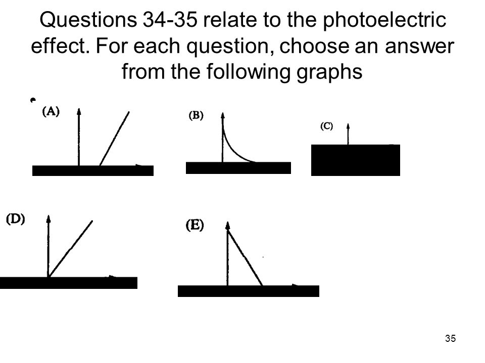 Questions 34‑35 relate to the photoelectric effect