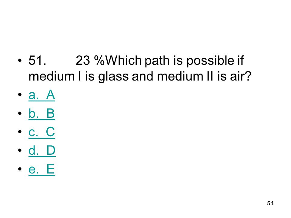 51. 23 %Which path is possible if medium I is glass and medium II is air