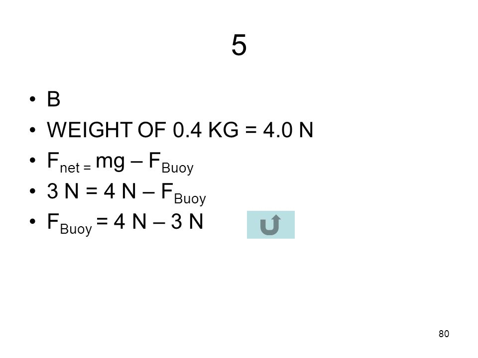 5 B WEIGHT OF 0.4 KG = 4.0 N Fnet = mg – FBuoy 3 N = 4 N – FBuoy
