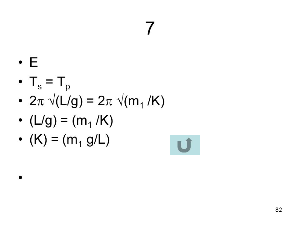 7 E Ts = Tp 2 (L/g) = 2 (m1 /K) (L/g) = (m1 /K) (K) = (m1 g/L)