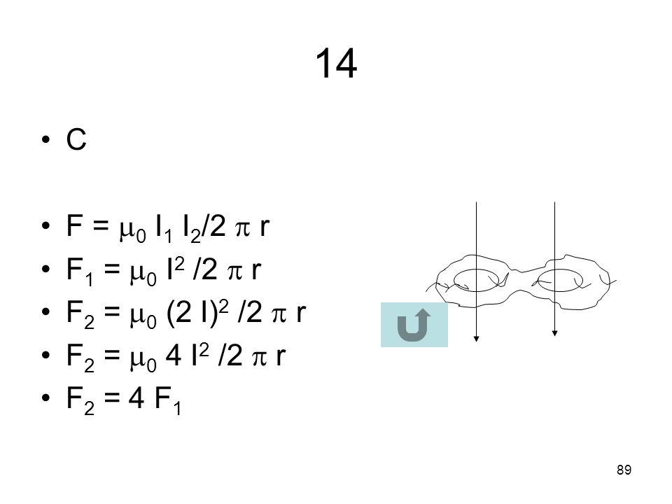 14 C F = 0 I1 I2/2  r F1 = 0 I2 /2  r F2 = 0 (2 I)2 /2  r