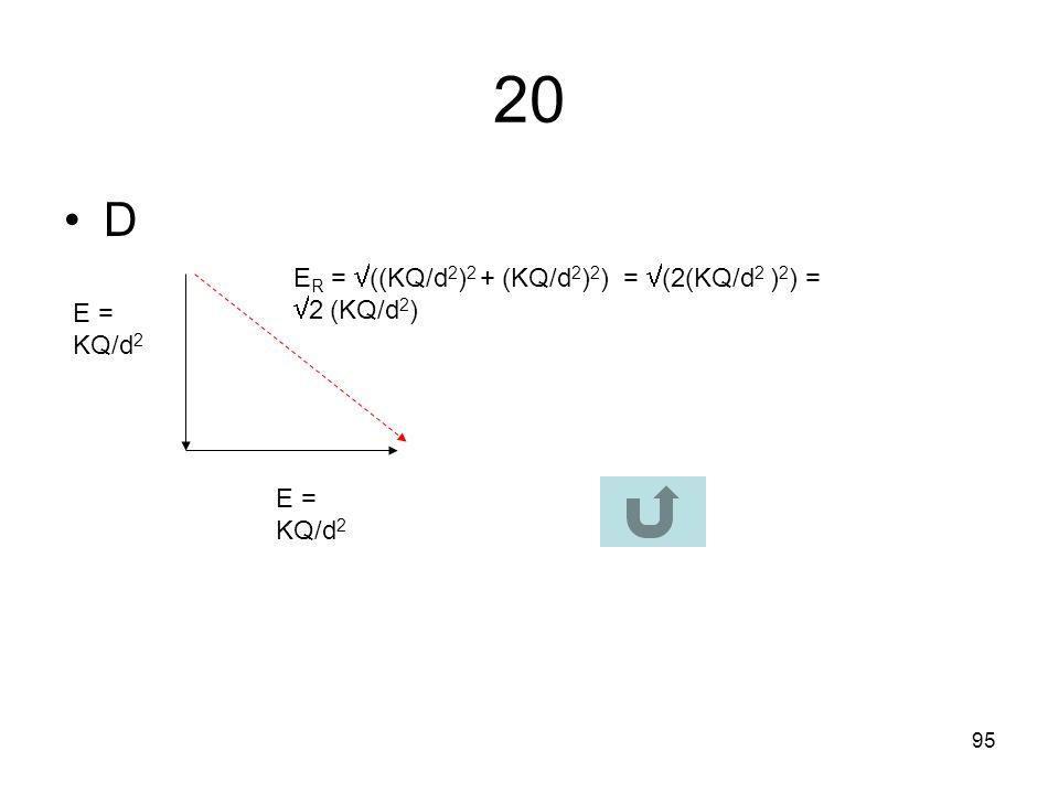 20 D ER = ((KQ/d2)2 + (KQ/d2)2) = (2(KQ/d2 )2) = 2 (KQ/d2)