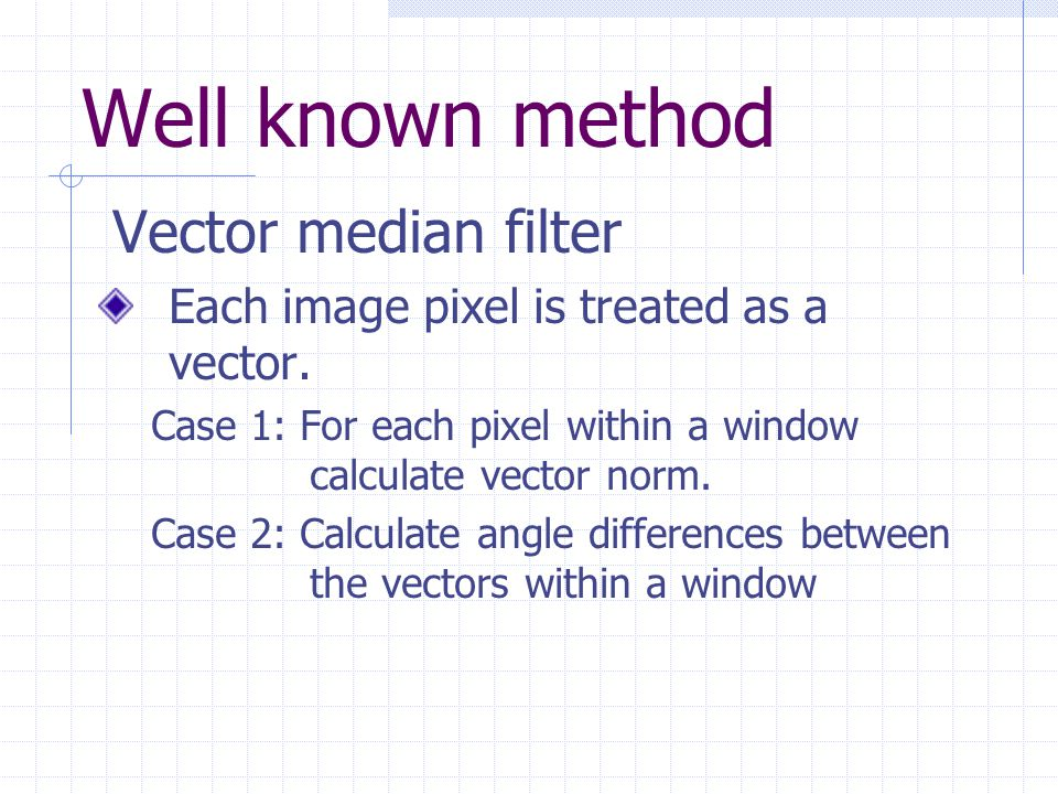 Well known method Vector median filter