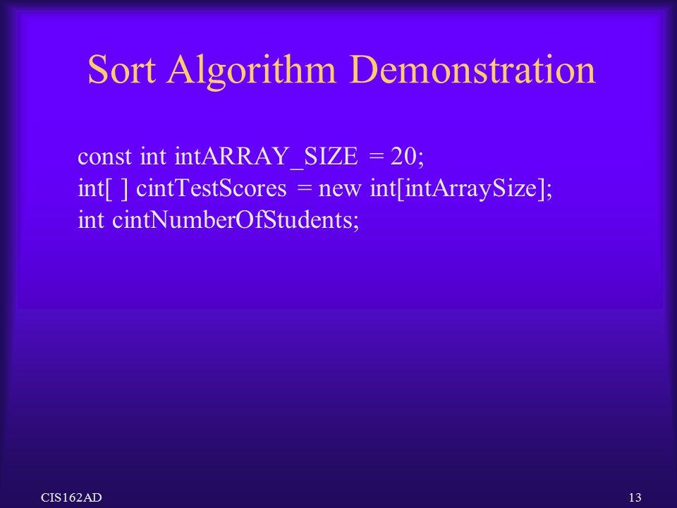 Sort Algorithm Demonstration