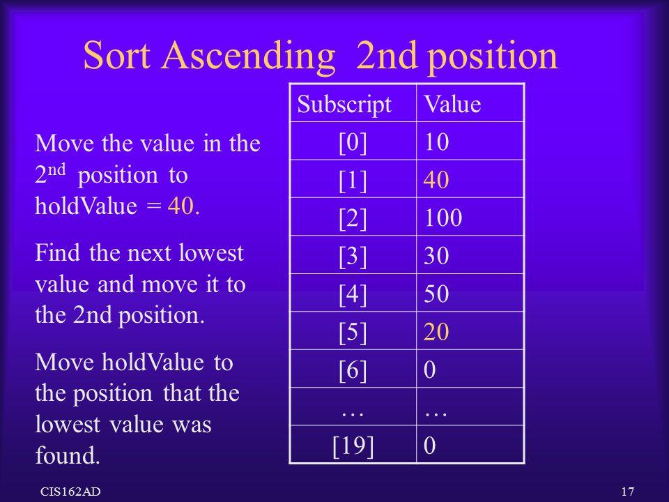 Sort Ascending 2nd position