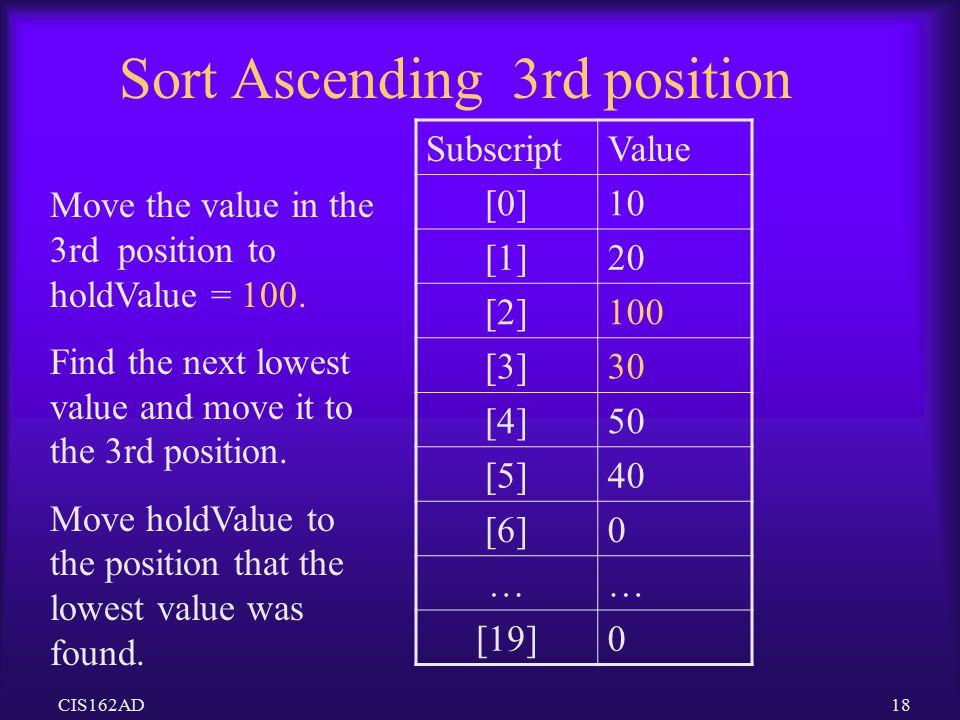 Sort Ascending 3rd position