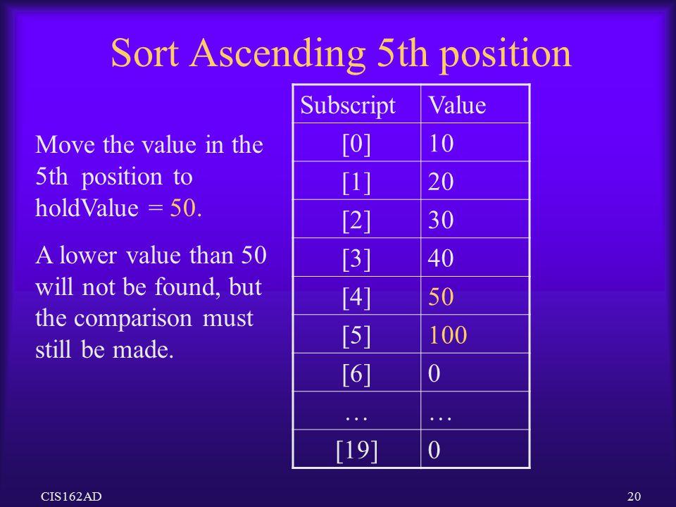 Sort Ascending 5th position