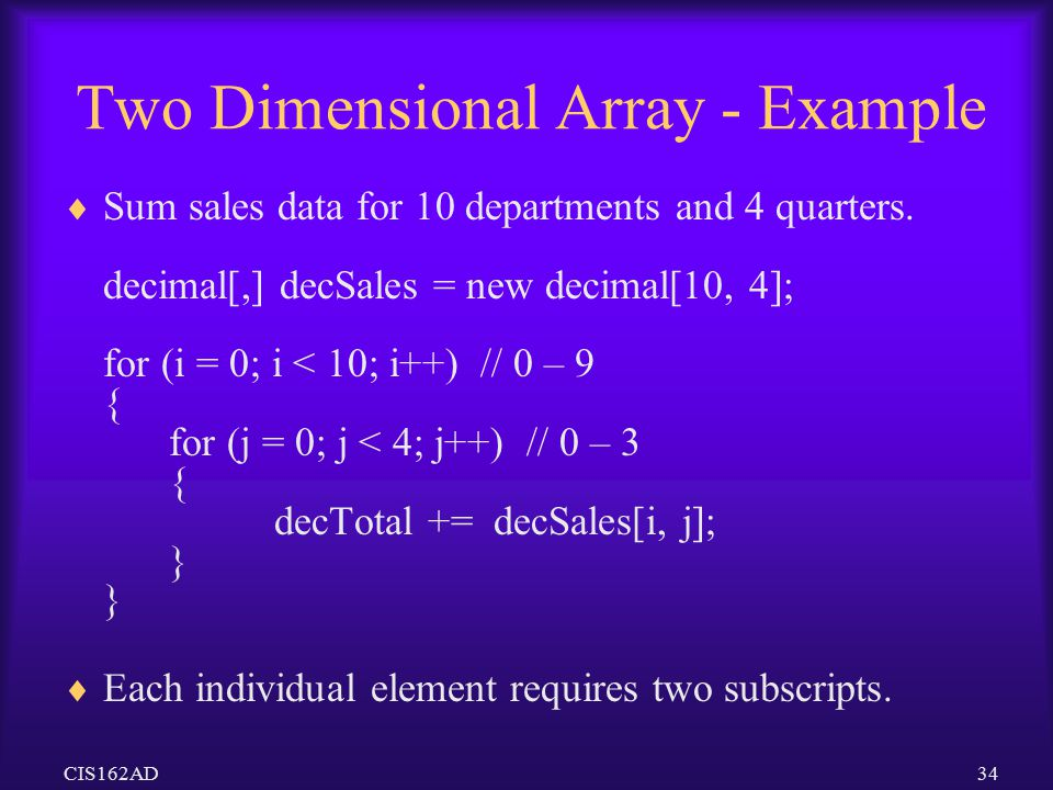 Two Dimensional Array - Example