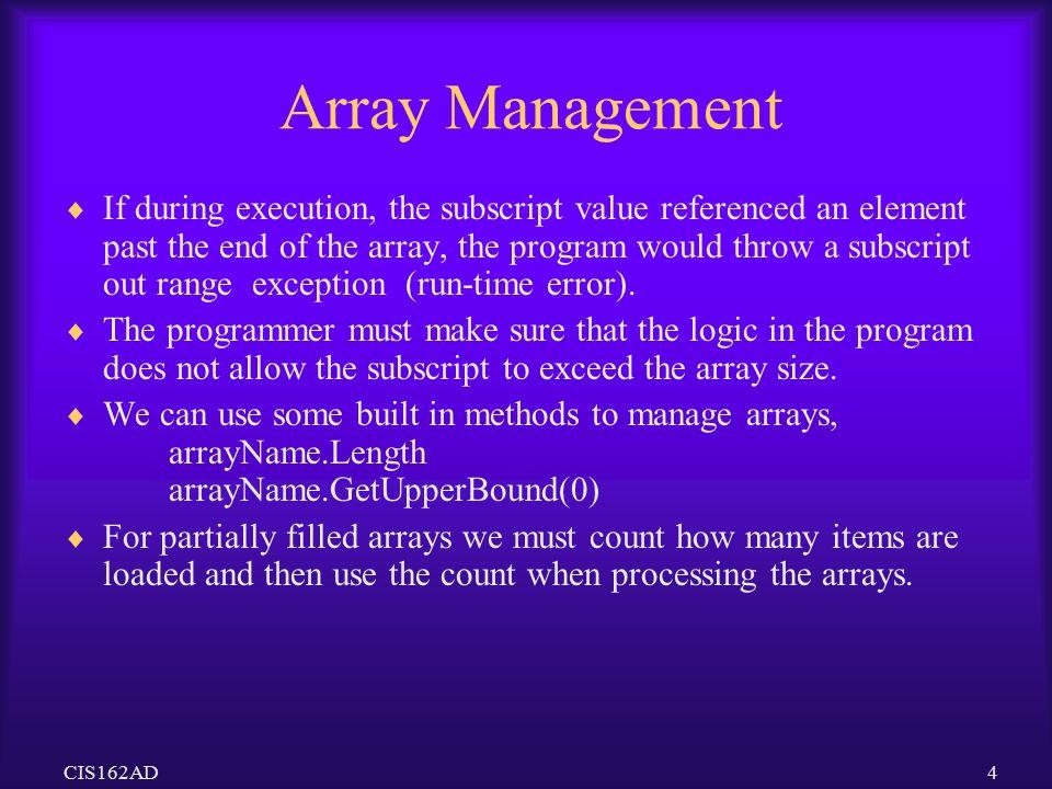Array Management