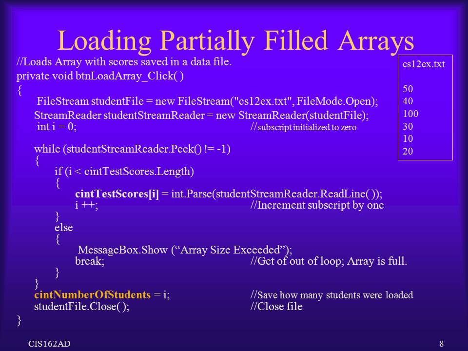 Loading Partially Filled Arrays