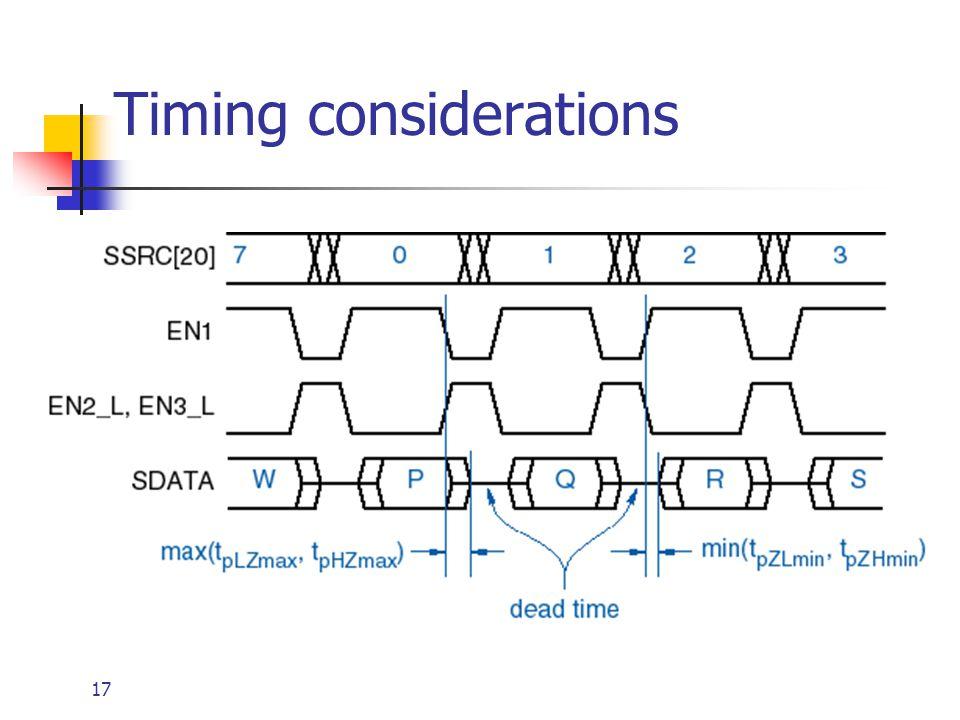 Timing considerations
