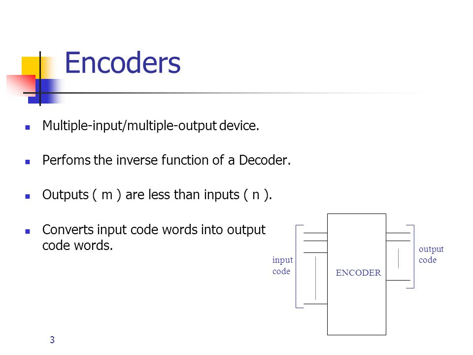 Encoders Multiple-input/multiple-output device.