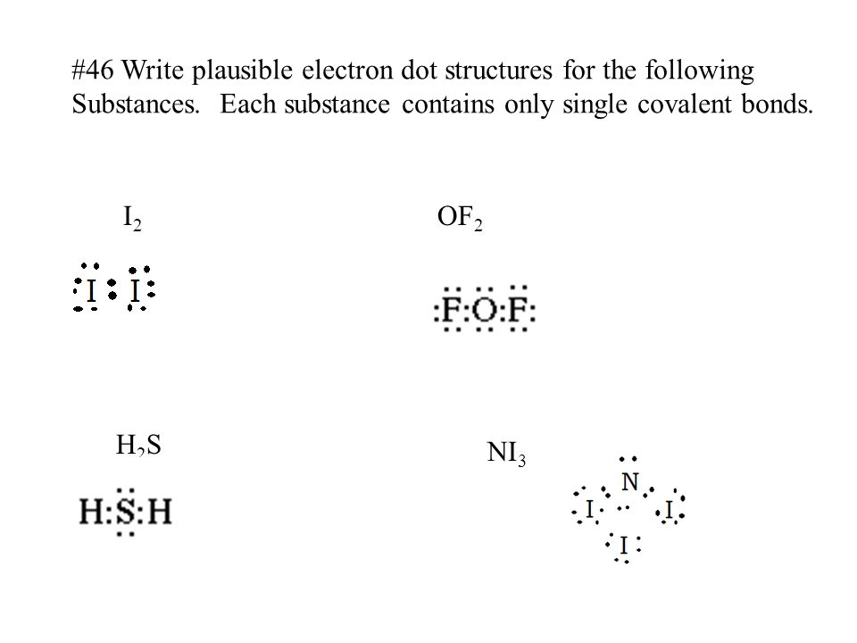 #46 Write plausible electron dot structures for the following