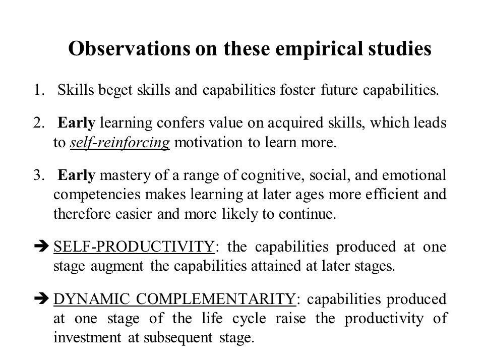 Observations on these empirical studies