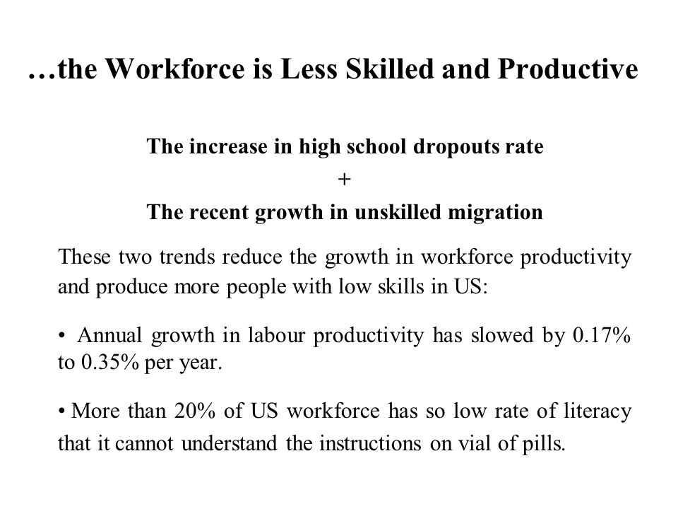 …the Workforce is Less Skilled and Productive