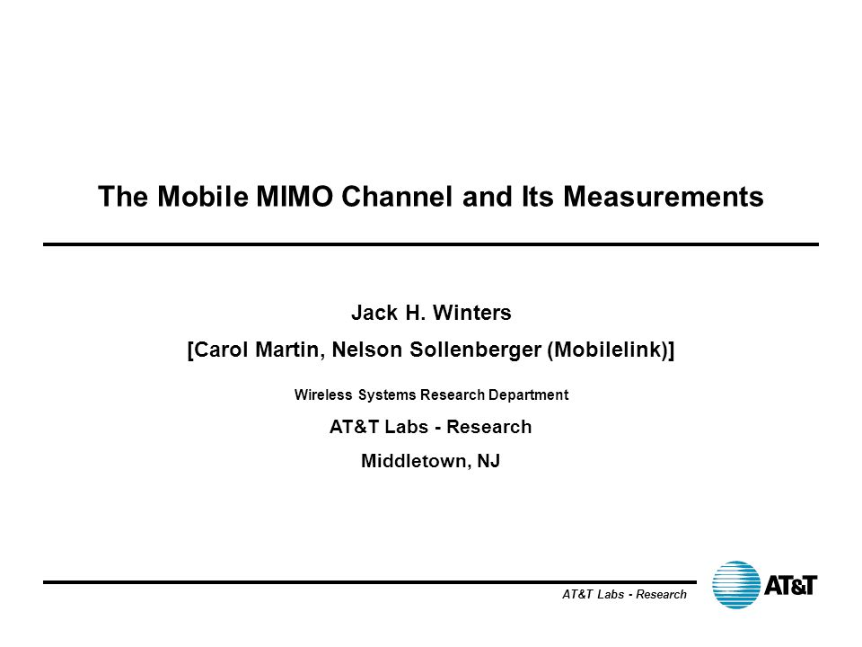 The Mobile MIMO Channel and Its Measurements