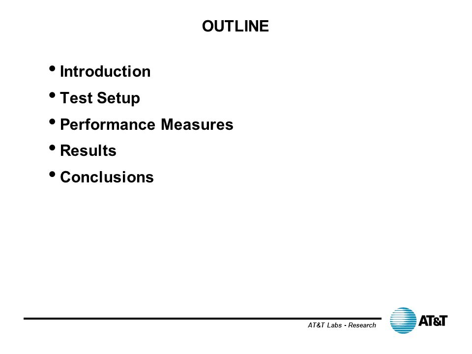 OUTLINE Introduction Test Setup Performance Measures Results Conclusions