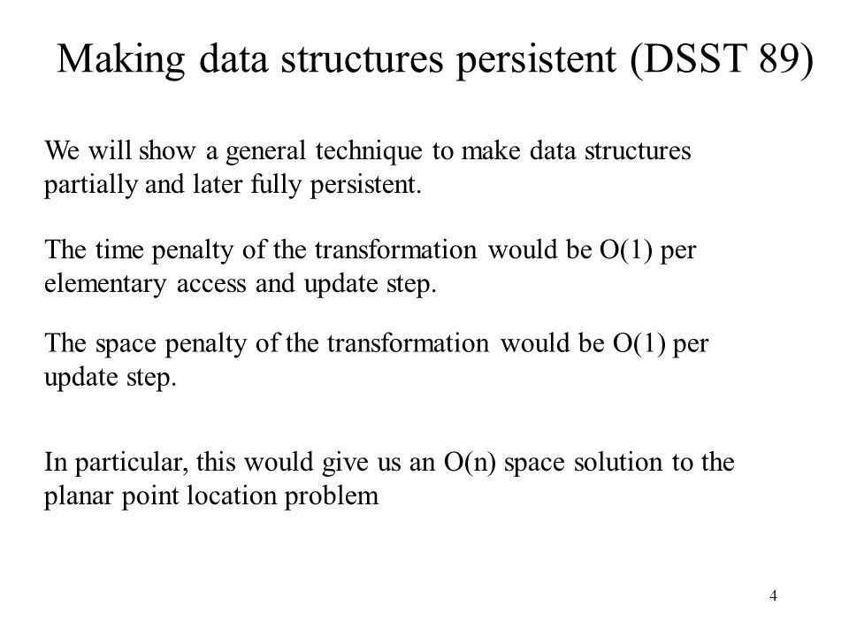Making data structures persistent (DSST 89)